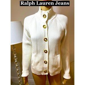 Ralph Lauren White Chunky Knit Sweater Sz Sm